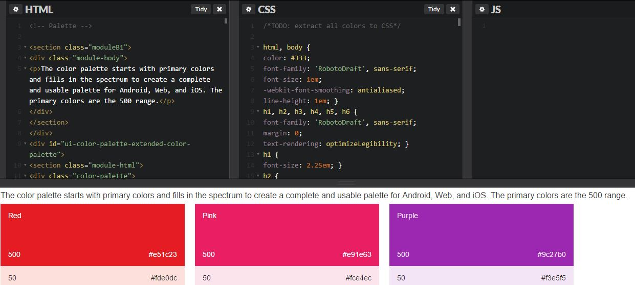 Material Design Palette code view
