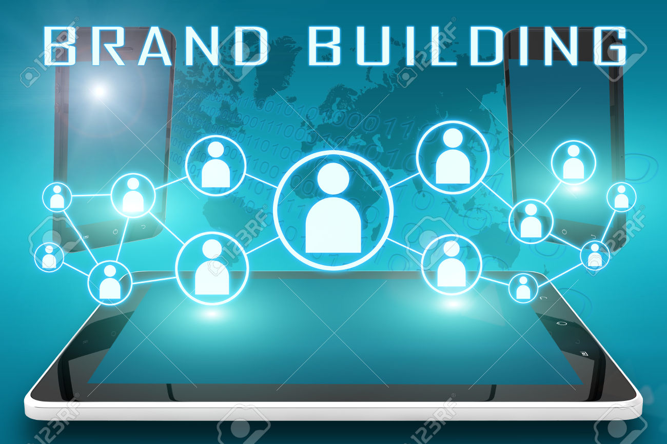 Brand Building - text illustration with social icons and tablet computer and mobile cellphones on cyan digital world map background