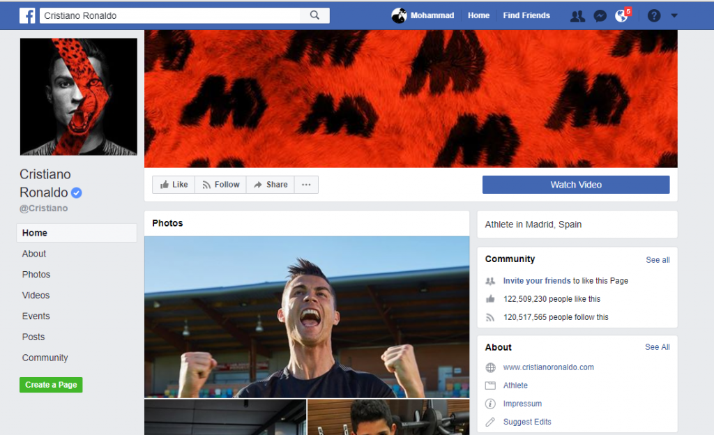 Facebook Page Cristiano Ronaldo