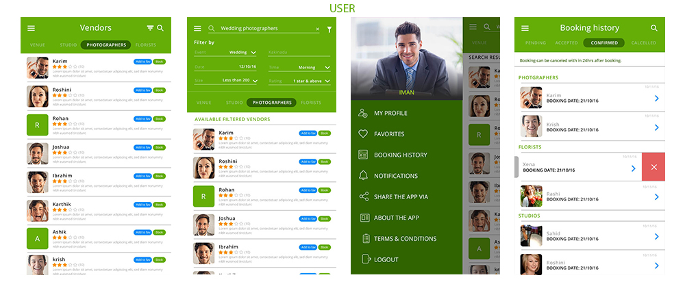 user screen