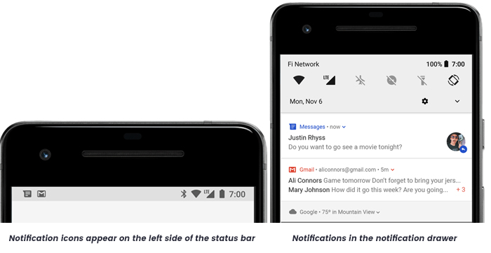 Status bar and notification drawer